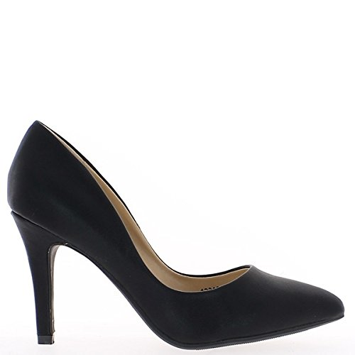 9.5 cm sharp heel high matte black woman pumps 0XmOUZpQA