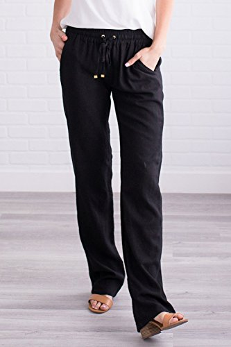 Geckatte Womens Casual Linen Pants Comfy Elastic Waist Drawstring Loose Long Pants with Pockets by Geckatte (Image #1)