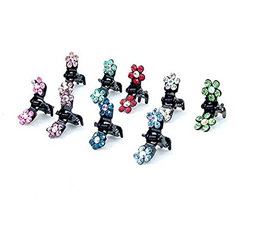 (VNDEFUL 10 Pcs Mini Jaw Clip-Crystal Rhinestone Assorted Bangs Mini Hair Claw Clip Hair Pin Flower Accessories for Girl Women Baby Mix Colored)