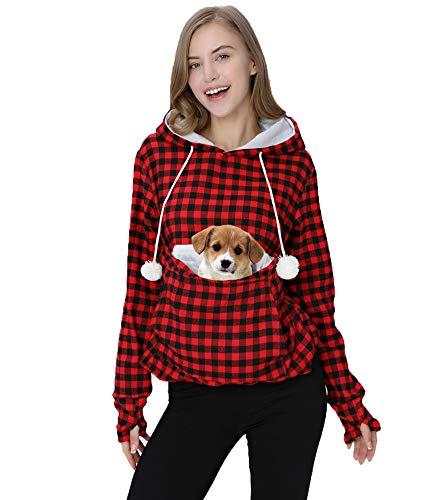 Pet Hoodie T-shirts - Womens Hoodie Pet Carrier Sweatshirt Kitten Puppy Holder Pouch Hood Tops Shirts Red