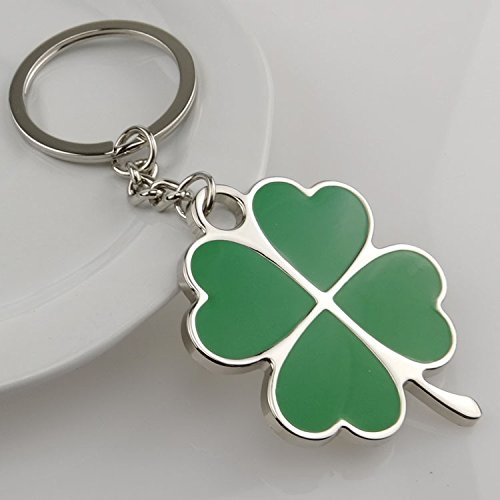 Govinz(TM) Stainless Green Leaf Keychain Fashion Creative Beautiful Four Leaf Clover Steel Lucky Key Chain Jewelry Keyring [ Green - Jewelry Tiffany Amazon
