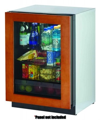 "ULINE 24"" Glass Door Refrigerator, left hinge, overlay"