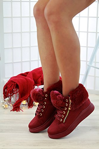 Gefüttert Up New Stiefel Schuhe Winter Burgund Womens Trainer Zip Lace Warm Larena Fashion Kunstpelz Flache Stil 15OqR8xA