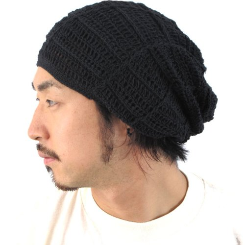 - CHARM Mens Summer Beanie Cotton - Womens Crochet Slouch Cap Hand Made Chemo Hat Black