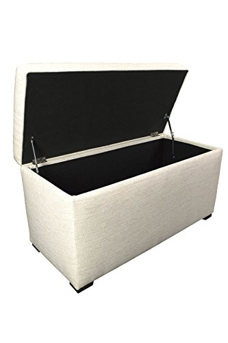 MJL Furniture Designs Angela Collection Button Tufted Upholstered Lift Top Medium Sized Bedroom Chest Storage Trunk, Belfast Series, Ivory