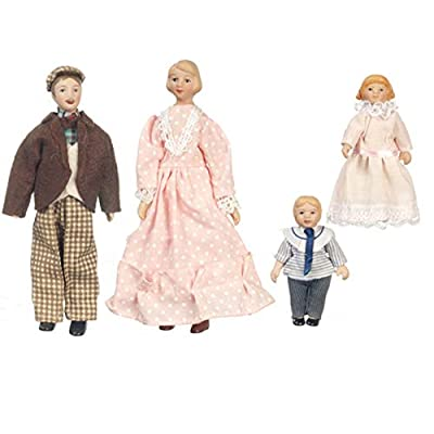 Dollhouse Miniature 1:12 Scale Charming Porcelain Doll Family Set of 4 by Town Square Miniatures: Toys & Games