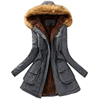 Womens Long Coat,FUNIC Women Winter Warm Long Coat Fur Collar Hooded Jacket Slim Winter Parka Outwear (XL, Gray)