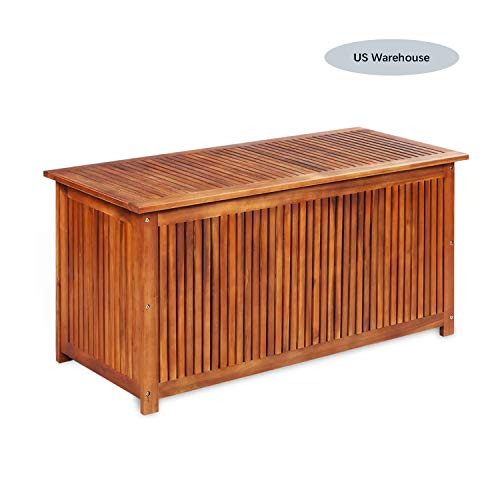 HooLeen Deck Storage Box Acacia Wood, Outdoor Storage Bench Garden Deck Box Waterproof Storage Container Patio Backyard Poolside Balcony Furniture Decor