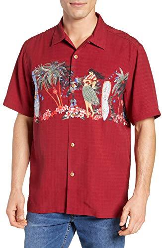 Tommy Bahama Mele Kelikmaka Silk Camp Shirt (Color: Plum Raisin, Size XXL)