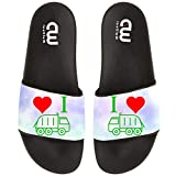 I Heart Love Trash Garbage Trucks Summer Slide Slippers For Girl Boy Kid Non-Slip Sandal Shoes size 13