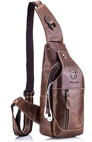 BULLCAPTAIN Genuine Leather Men Sling Bags Casual Crossbody Bag Chest Shoulder Bag Travel Hiking Backpack ()