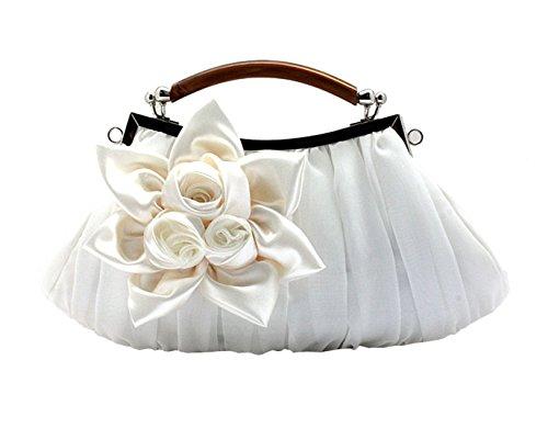 2 Chic Cérémonie Pour Blanc Femme Heyjewels De Soirée Elégant Pochette Roses Sac Série Fleurs Décorées Mariage v8qaw6