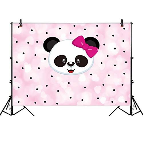 Allenjoy 7x5ft Pink Panda Backdrop for Baby Girl Shower Kids Baptism Christening Birthday Party Event Decorations Candy Table Decor Banner Background Photography Pictures Photo Booth Props -