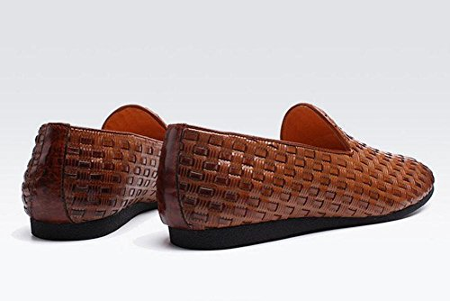 Männer Slip-On Oxford New Business Casual Schuhe Pure Hand - Woven Herren Schuhe Sommer Breathable Schuhe Flat Sets Of Feet , yellow brown , 40