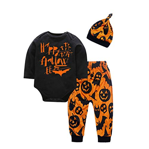 Halloween Pumpkin Ideas Costumes for Toddler Girls Boy Romper Ghost Pumkin Pants Hat Costume Outfits Set 3pcs Orange