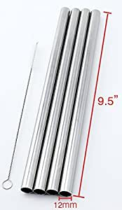 """4 Stainless Steel Straws Big Straw Extra Wide 1/2"""" x 9.5"""" Long Thick FAT - CocoStraw Brand"""