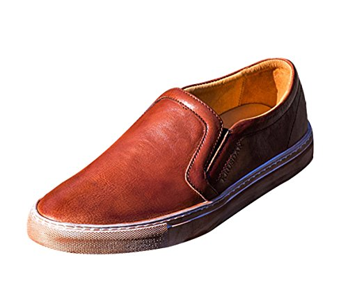 Insun Mens Cowhide Leather Slip On Loafers Brown s31cu7nJQ