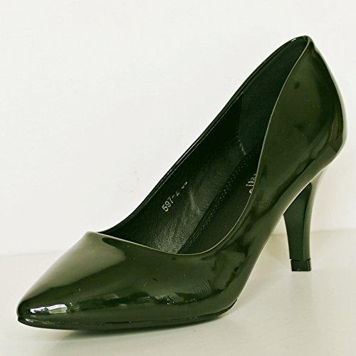 Medio Verde Charol Oficina noche Tacón Zapatos de 5972 ROCK Zapatillas salón Fiesta de Casual Bajo Mujer ON De Oscuro size Styles 7qzccYHF
