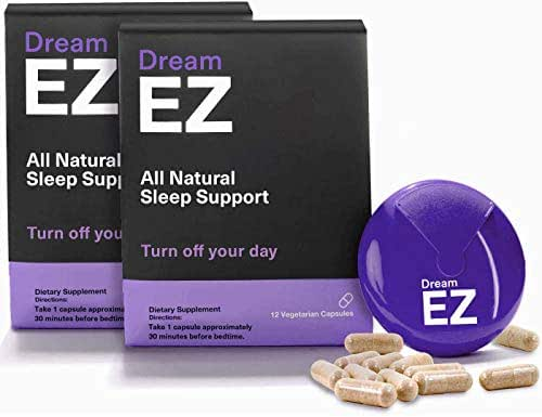 Dream EZ Sleeping Pills with Valerian Root and Lemon Balm, Supports a Healthy Sleep Cycle, Deep and Restful Sleep, Anti Anxiety Supplement with Melatonin, Chamomile and L-Tryptophan (36 Capsules)