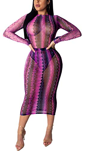 Pink Animal Print Dress - Women Sexy Cover Up Casual Long Sleeve Stretch Swimwear Summer Beachwear Pencil Dress Rose