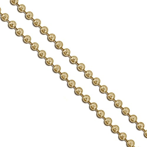 (Gold-Tone Stainless Steel Military Ball Bead Chain 2.3mm Dog Tag Necklace 24