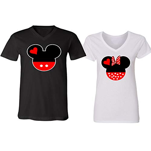 V-Neck Couple for Women and Men Disney Minnie Mickey Mouse Head Family(Black-White,Men-XL/Women-XXL) -