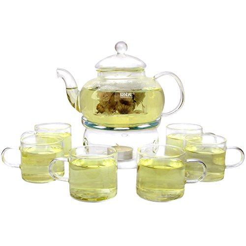 27 oz glass filtering tea maker teapot with a warmer and 6 tea cups CJ-BS808A -
