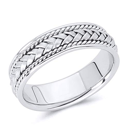 - Wellingsale 14k White Gold Polished Satin 6MM Handmade Braided Rope Comfort Fit Wedding Band Ring - size 9