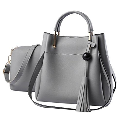 Baymate Ladies PU Leather Tassel Shoulder Bags Totes Handbags with Matching Wallet Purse 2 Pieces Set Light Gray