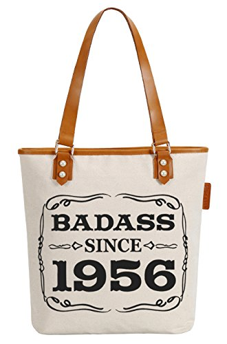 So'each Women's Badass 1956 Letters Canvas Tote Pearly Top Handle Shoulder Bag