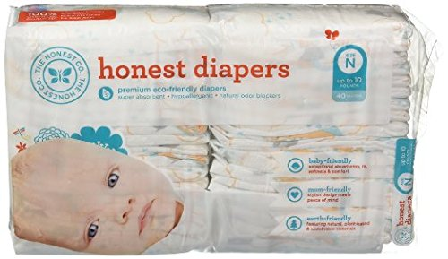 The Honest Company - Eco-Friendly and Premium Disposable Diapers - Balloon Print, Newborn Size (<10lbs.) 40 Ct.