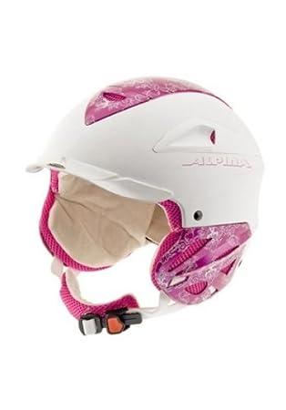 Mädchen Skihelm ALPINA super Ausstattung RUN System weiß pink ...