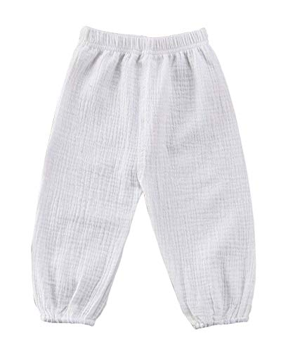Mini honey Toddler Kids Cute Baby Boy Girl Casual Eelastic Harem Bloomers Cute Summer Pant (18-24 Months, White), 18 - 24 Months (Honey Clothes)
