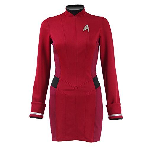 [Cosparts Beyond Nyota Uhura Red Dress Uniform Cosplay Costume (US Woman Small)] (Red Star Trek Dress)