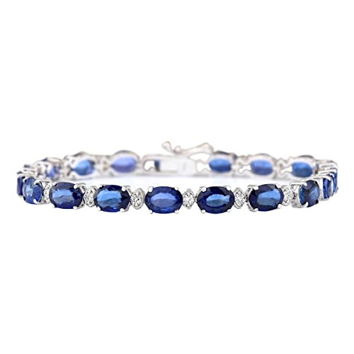 16.96 Carat Natural Blue Sapphire and Diamond (F-G Color, VS1-VS2 Clarity) 14K White Gold Luxury Tennis Bracelet for Women Exclusively Handcrafted in USA