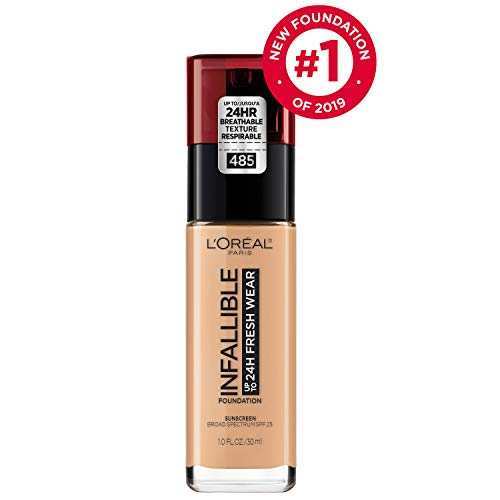 LOréal Paris Makeup Infallible up to 24HR Fresh Wear Liquid Longwear Foundation, Lightweight, Breathable, Natural Matte Finish, Medium-Full Coverage, Sweat & Transfer Resistant, Golden Sun, 1 fl. oz