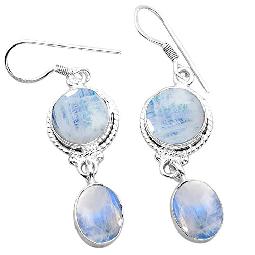 16.40ctw, Genuine Rainbow Moonstone & 925 Silver Plated Dangle Earrings Made By Sterling Silver Jewelry