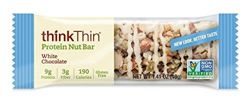 Cheap Protein Nut Bar by thinkThin – On The Go, 8g Protein, Gluten Free, Non-GMO –  White Chocolate (10 Bars)