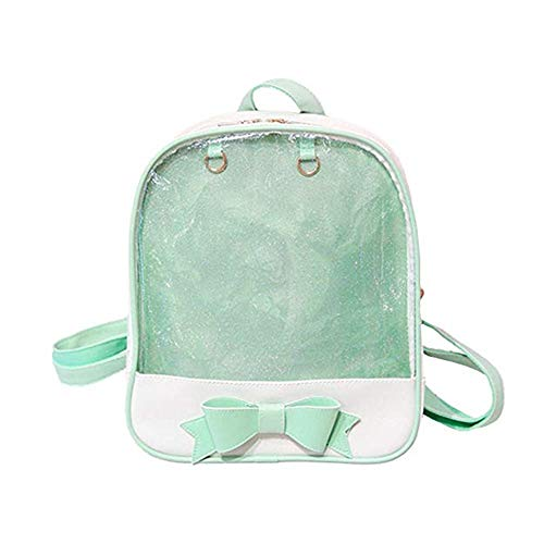 - Bowknot Backpack Transparent Ita Daypack School Bag for Pins Display Bag, Green
