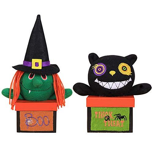 (Lzttyee 2PCS Halloween Candy Holder Box Creative Candy Gift Pail Holder Cartoon For Kids Halloween Home Party Bar (Radom)