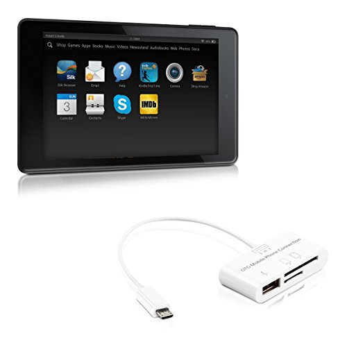 kwmobile 3in1 Micro USB Adapter Card Reader OTG for Amazon Kindle Fire HD 7 2014 white