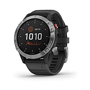 Garmin Fēnix 6 Solar, Solar-powered Multisport GPS Watch, Advanced Training Features and Data, Silver with Black Band