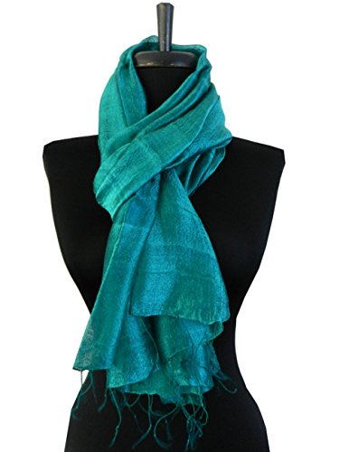 BTPx Women's Handmade 100% Thai Raw Silk Scarf Shawl Solid Fair Trade Large (Dark Cyan H41) ()