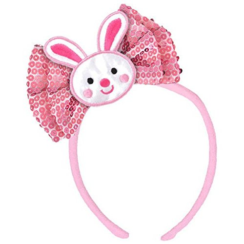Amscan Egg-Stra Special Pink Easter Bunny Bow Headband Party Accessory, Multicolor, 7