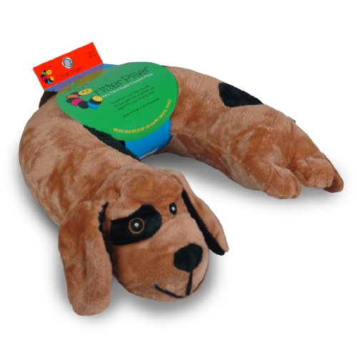 Critter Piller Kid's Travel Buddy and Comfort Pillow, Brown Dog, Hypoallergenic, Machine Washable