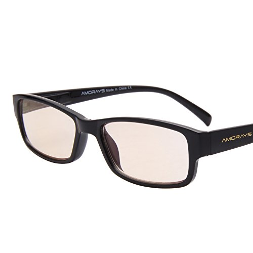 Amorays Classic Computer Gaming Reading Amber Tinted Glasses with Magnification and Anti Blue Light Anti Glare UV400 for All Digital Screens - Sunglasses Mean Uv400 Does