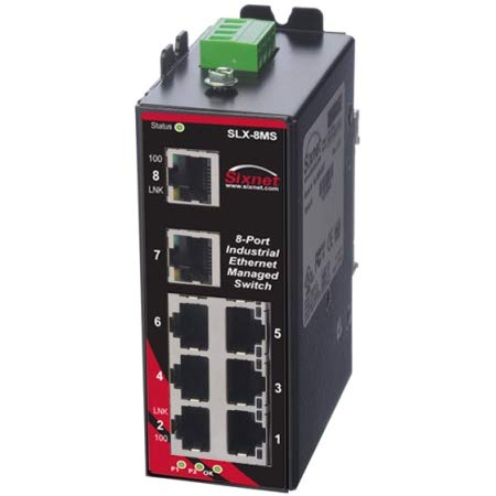 (Sixnet 8 ports; managed; 5 FE RJ45 Standard Industrial Ethernet Managed and Ring DIN-Rail Switches. Model: SLX-8MS-1)