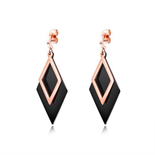Womens Dangle Earrings Stainless Steel Drop Clip-ons 18K Rose Gold Earrings for Girl by ENHONG