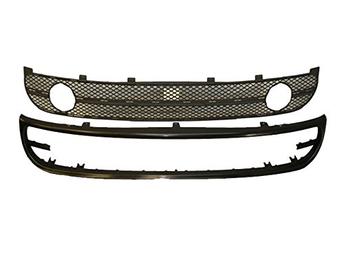 Bundle for 2001-2005 Beetle Hb Conv. Front Bumper Lower Spoiler Valance Grille W/fog Hole 2pcs