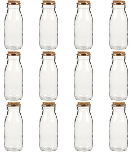 Juvale Clear Glass Bottles with Cork Lids- 12 Pack of Small Transparent Milk Jars with Stoppers for Vintage Wedding Decoration, DIY, Home, Party Favors, 280 ML (Glass Stones Milk)